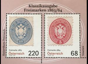 Österreich 2018 Block 98 Klassische Briefmarken (V) - Freimarken von 1863/64