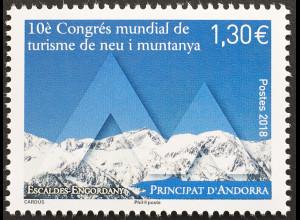 Andorra französisch 2018 Nr. 830 Weltkongress für Schnee- und Bergtourismus