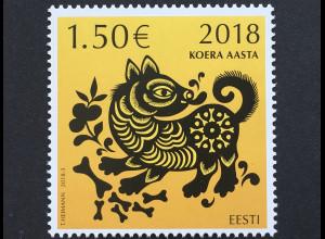 Estland EESTI 2018 Nr. 913 Chinesisches Neujahr Jahr des Hundes Horoskop