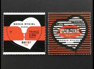 Frankreich France 2018 Nr 6939-40 Grußmarken Valentinstag Sonia Rykiel Herzmotiv
