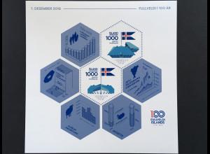 Island Iceland 2018 Block 66 100 Jahre Unabhängigkeit Souveränität
