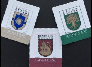 Lettland Latvia 2018 Nr. 1035-37 Freimarken Bezirkswappen Ķegums Rundale Seja