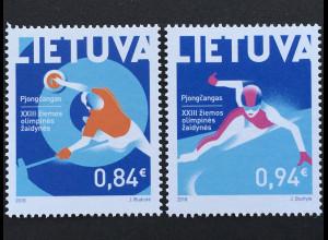 Litauen Lithuania 2018 Nr. 1269-70 Olympische Winterspiele Pyeongchang Sport