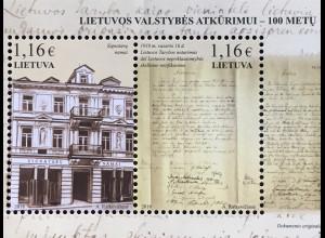 Litauen Lithuania 2018 Block 58 Jahrestag Wiederherstellung der Unabhängigkeit