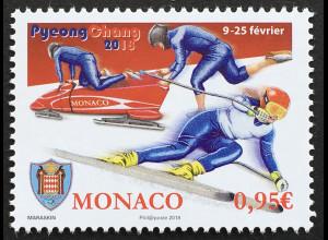 Monako Monaco 2018 Michel Nr 3378 Olympische Winterspiele Pyeongchang Sport