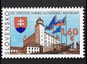 Slowakei Slovakia 2017 Nr. 834 25 Jahre Slowakische Republik Burg Bratislava