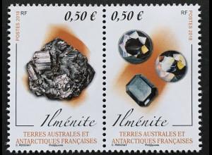 Franz. Antarktis TAAF 2018 Nr. 993-94 Mineralien Ilmenite Titaneisenerz Oxide