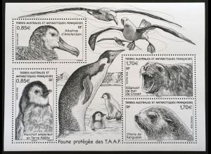 Franz. Antarktis TAAF 2018 Block 60 Geschützte Tiere Pinguin Albatros Robben