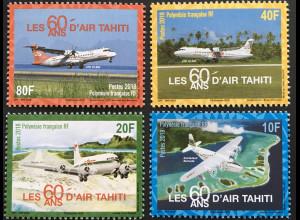 Polynesien französisch 2018 Nr. 1370-73 60 Jahre Fluggesellschaft Air Tahiti