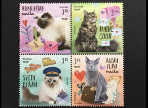 Kroatien Croatia 2018 Nr. 1303-06 Grußmarken Katze Haustiere Fauna Birma-Katze