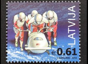 Lettland Latvia 2018 Nr 1038 Olympische Winterspiele Pyeongchang Bobfahren Sport