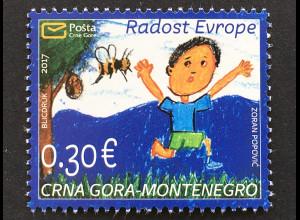 Montenegro 2017 Nr. 409 Freude Europas Kinderzeichnung Springendes Kind
