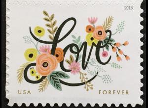 """USA Amerika 2018 Nr. 5459 Grußmarke """"Love"""" dekoriert mit Blumen"""