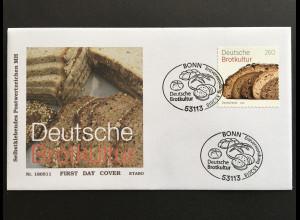 Bund Ersttagsbrief FDC Nr. 3390 3. Mai 2018 Deutsche Brotkultur selbstklebend