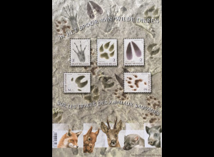 Belgien 2018 Block 222 Wildtierfähren Spuren heimischer Wildtier Fauna Waldtiere