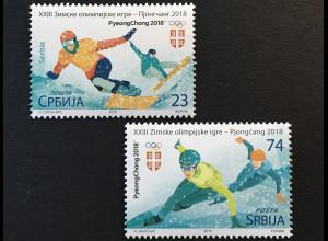 Serbien Serbia 2018 Michel Nr. 769-70 Olympische Winterspiele Pyeongchang Sport
