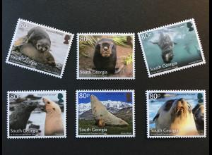Süd Georgien und Südl Sandwichinseln 2018 Nr 712-17 Robben Meeressäuger Raubtier