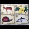 Vereinte Nationen UN UNO Genf 2018 Nr. 1025-28 Gefährdete Arten Tierschutz Fauna