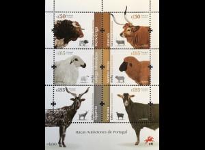 Portugal 2018 Block 422 Autochthone Nutztierrassen Fauna Mertolenga-Rind Ziege