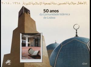 Portugal 2018 Block 424 50 Jahre islamische Gemeinde Lissabon Religion Moschee