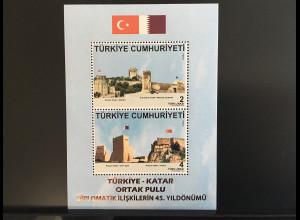 Türkei Turkey 2018 Block 174 45 Jahre diplomatische Beziehungen mit Kata