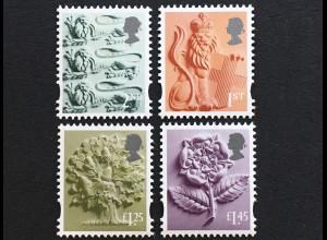 Großbritannien 2018 Regionalmarke England Michel Nr. 43-46 Landeswahrzeichen