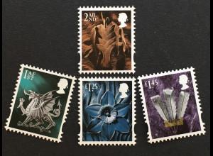 Großbritannien 2018 Regionalmarke Wales Michel Nr. 123-26 Landeswahrzeichen