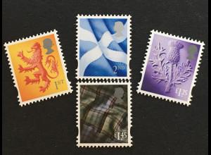 Großbritannien 2018 Regionalmarke Schottland Michel Nr. 124-27 Landeswahrzeichen