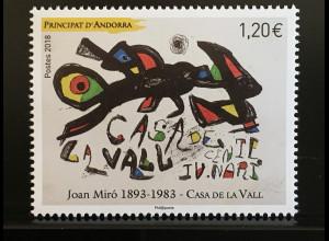 Andorra französisch 2018 Nr. 832 Joan-Miro-Gemäldeausstellung Casa de la Val