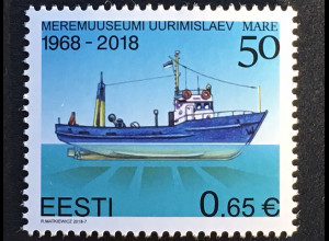 "Estland EESTI 2018 Michel Nr. 917 50 Jahre Forschungsschiff ""Mare"" Meeresmuseums"