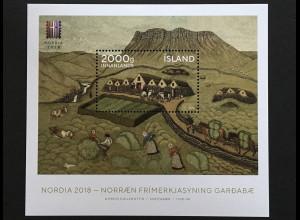Island Iceland 2018 Block 67 Inter. Briefmarkenausstellung NORDIA Reykjavík