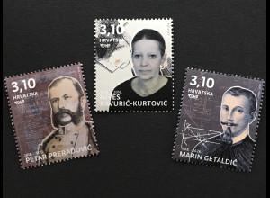 Kroatien Croatia 2018 Michel Nr. 1315-17 Berühmte Kroaten Persönlichkeiten