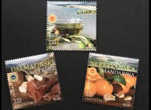 Kroatien Croatia 2018 Nr 1312-14 Einheimsiche Lebensmittel Orange Schinken Olive