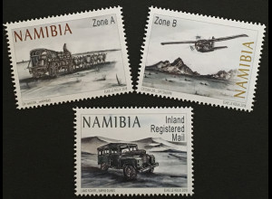 Namibia 2018 Nr. 1585-87 Vom Ochsenwagen zum Flugzeug Transport Postbeförderung