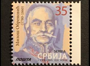 Serbien Serbia 2018 Michel Nr. 619 Freimarke 235. Geburtstag von Miloš Obrenović