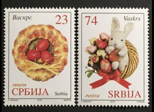 Serbien Serbia 2018 Nr. 773-74 Ostern Hefezopf Stoffhase Kirchliches Fest