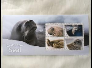 Australische Antarktis AAT 2018 Neuheit Robben Crabeater Seal Säugetiere Block