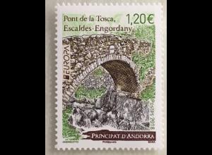 Andorra französisch 2018 Nr. 834 Europa Brücken Europacept Europe