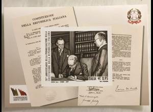 Italien Italy 2017 Block 79 70 Jahre Verfassung der Republik Italien Gasperi