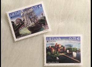Litauen Lithuania 2018 Nr. 1275-76 Europaausgabe Brücken Europacept Burg Trakai