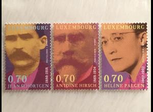 Luxemburg 2018 Nr. 2163-65 Persönlichkeiten Jens Schortgen Antoine Hirsch Palgen