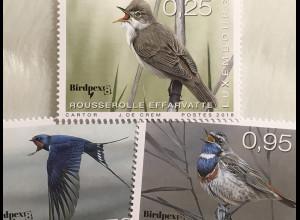 Luxemburg 2018 Nr. 2168-70 Seltene Vögel Teichrohrsänger Rauchschwalbe Fauna