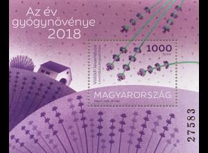 Ungarn Hungary 2018 Block 412 Lavendel Heilpflanze des Jahres Flora Kräuter