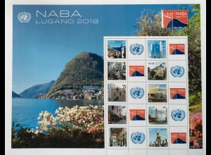 Vereinte Nationen UN UNO Genf 2018 Nr 1031-40 NABA Lugano Personalisierter Bogen