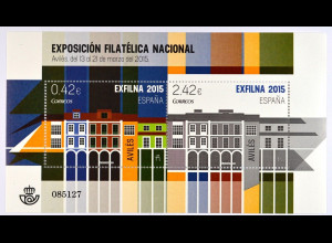 Spanien 2015 Block 264 Nationale Briefmarkenausstellung EXFILNA 2015 Avilés