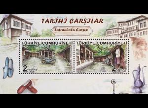 Türkei Turkey 2018 Block 175 Historischer Basar in Safranbolu Markt Marktstände