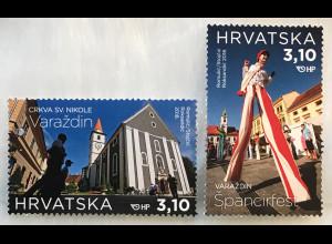 Kroatien Croatia 2018 Nr. 1322-23 Tourismus Stadt Varaždin Reiseziele Ferienorte