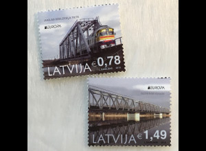 Lettland Latvia 2018 Michel Nr. 1043-44 A Europaausgabe Brückenmotiv Bridge