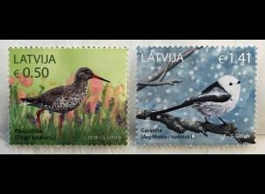 Lettland Latvia 2018 Nr. 1046-47 Einheimische Vögel Fauna Rotschenkel