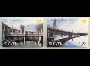 Slowenien Slovenia 2018 Neuheit Europaausgabe Brückenmotiv Bridge Pontes